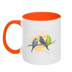 Кружка двухцветная 320ml Волнистые попугайчики