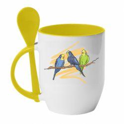 Кружка с керамической ложкой Волнистые попугайчики