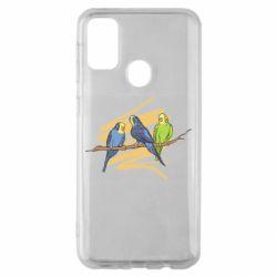 Чехол для Samsung M30s Волнистые попугайчики