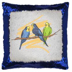 Подушка-хамелеон Волнистые попугайчики