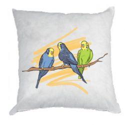 Подушка Волнистые попугайчики