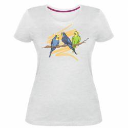 Женская стрейчевая футболка Волнистые попугайчики