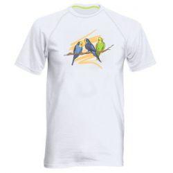 Мужская спортивная футболка Волнистые попугайчики