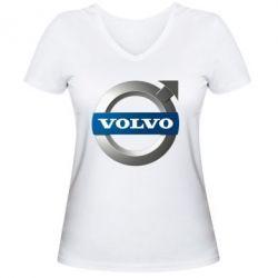Женская футболка с V-образным вырезом VOLVO 3D - FatLine
