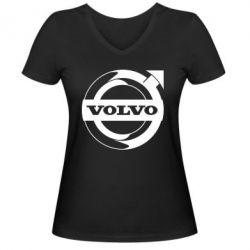Жіноча футболка з V-подібним вирізом Volvo logo