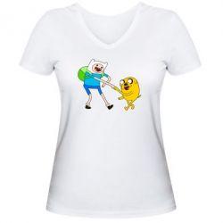 """Женская футболка с V-образным вырезом Время Приключений """"Фин и Джейк"""" - FatLine"""