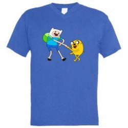 """Мужская футболка  с V-образным вырезом Время Приключений """"Фин и Джейк"""" - FatLine"""