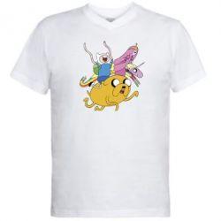 Мужская футболка  с V-образным вырезом Время Приключений - FatLine