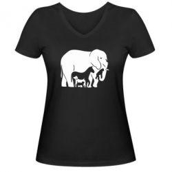 Женская футболка с V-образным вырезом все в одном