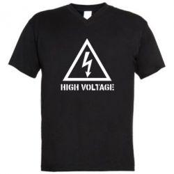 Мужская футболка  с V-образным вырезом Высокое напряжение! - FatLine