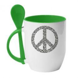 Кружка з керамічною ложкою War Peace