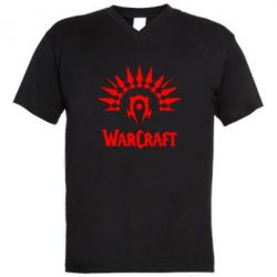Мужская футболка  с V-образным вырезом WarCraft Logo - FatLine