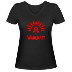 Женская футболка с V-образным вырезом WarCraft Logo - FatLine
