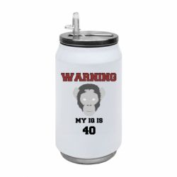 Термобанка 350ml Warning my iq is 40