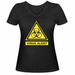 Жіноча футболка з V-подібним вирізом Warning Virus alers