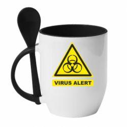 Кружка з керамічною ложкою Warning Virus alers