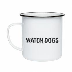 Кружка эмалированная Watch Dogs text