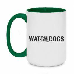 Кружка двухцветная 420ml Watch Dogs text