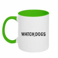 Кружка двухцветная 320ml Watch Dogs text