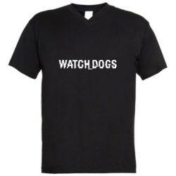 Мужская футболка  с V-образным вырезом Watch Dogs text