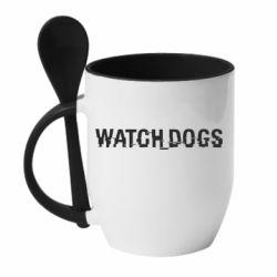 Кружка с керамической ложкой Watch Dogs text