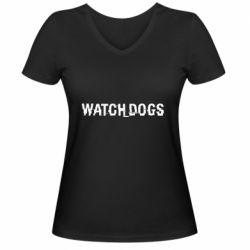 Женская футболка с V-образным вырезом Watch Dogs text