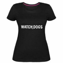 Женская стрейчевая футболка Watch Dogs text