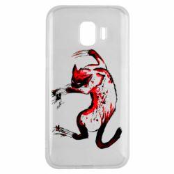 Чехол для Samsung J2 2018 Watercolor Aggressive Cat