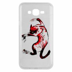 Чехол для Samsung J7 2015 Watercolor Aggressive Cat