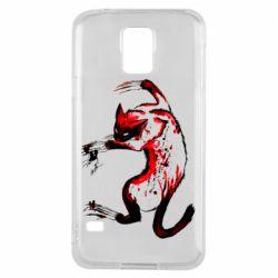 Чехол для Samsung S5 Watercolor Aggressive Cat