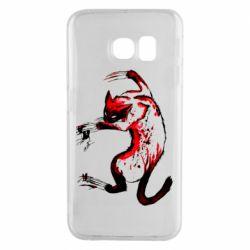 Чехол для Samsung S6 EDGE Watercolor Aggressive Cat
