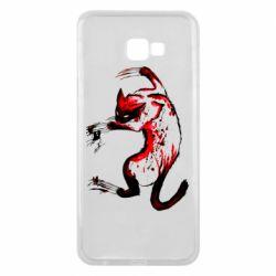 Чехол для Samsung J4 Plus 2018 Watercolor Aggressive Cat