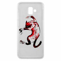 Чехол для Samsung J6 Plus 2018 Watercolor Aggressive Cat