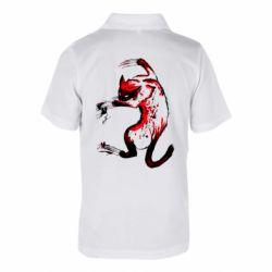Детская футболка поло Watercolor Aggressive Cat
