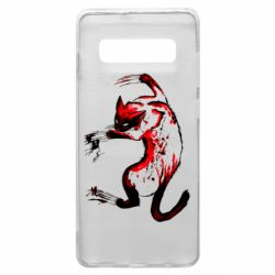 Чехол для Samsung S10+ Watercolor Aggressive Cat