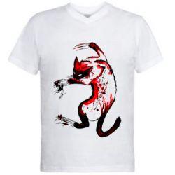 Мужская футболка  с V-образным вырезом Watercolor Aggressive Cat