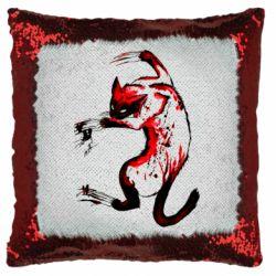 Подушка-хамелеон Watercolor Aggressive Cat