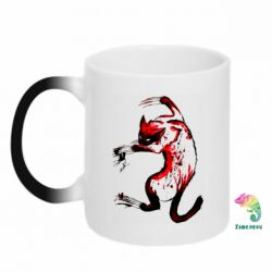 Кружка-хамелеон Watercolor Aggressive Cat