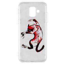 Чехол для Samsung A6 2018 Watercolor Aggressive Cat