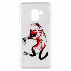 Чехол для Samsung A8 2018 Watercolor Aggressive Cat
