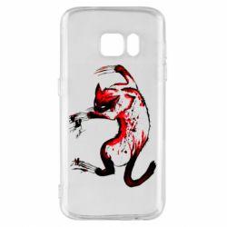 Чехол для Samsung S7 Watercolor Aggressive Cat