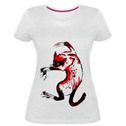 Женская стрейчевая футболка Watercolor Aggressive Cat
