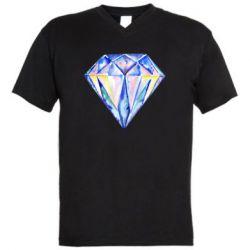 Мужская футболка  с V-образным вырезом Watercolor diamond