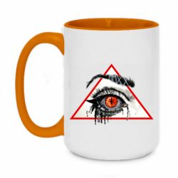 Кружка двоколірна 420ml Watercolor  Eye in the triangle