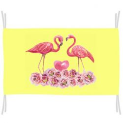 Прапор Watercolor flamingos and flowers