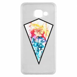 Чехол для Samsung A3 2016 Watercolor flower in a geometric frame