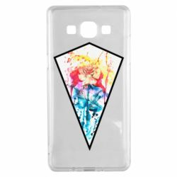 Чехол для Samsung A5 2015 Watercolor flower in a geometric frame