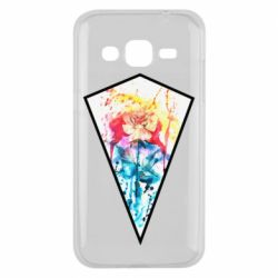 Чехол для Samsung J2 2015 Watercolor flower in a geometric frame