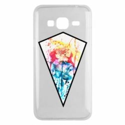 Чехол для Samsung J3 2016 Watercolor flower in a geometric frame