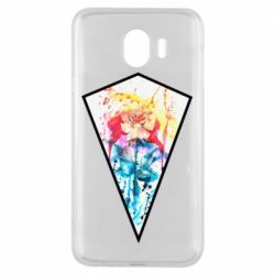 Чехол для Samsung J4 Watercolor flower in a geometric frame